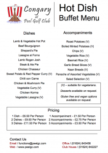 Peel Golf Club Hot Dish Buffet Menu
